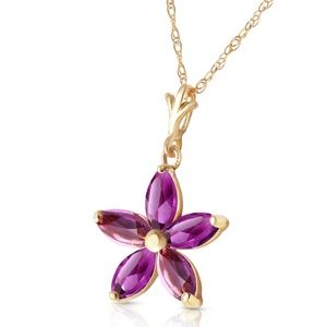 14K. SOLID GOLD NECKLACE WITH NATURAL AMETHYSTS